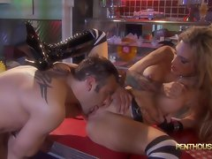 Inked honey Sarah Jessie is banged in a diner