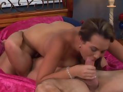 Holly West gives a guy a good blowing and the he gives her a good pound