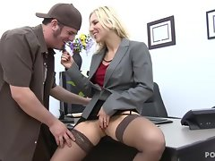 Hot boss Ashley Fires fucks on her office desk