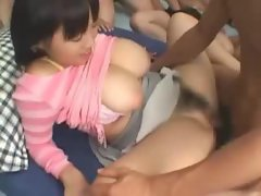 Mosaic: Japanese girl big tits  bukake