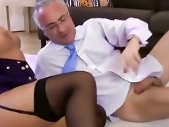 Wife films hubby fucking a noisy girl in stockings