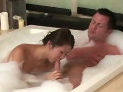 Sexy bubble bath asian gives hot massage
