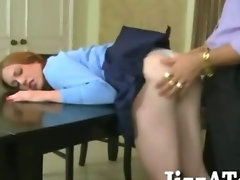 Skinny tiny titted brunette schoolgirl railed in shaved twat