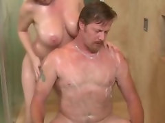 Busty sexy babe eats soapy cock