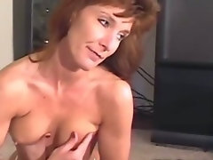 Sexy Redhead MILF in White Panties Playing with Big Tits