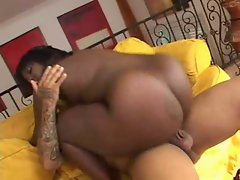 Busty black beauty gets fucked