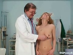 Skinny MILF gyno clinic exam by kinky doctor