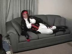 VerriVynil In A Shiny White PVC-U-LIKE Pvc Catsuit.