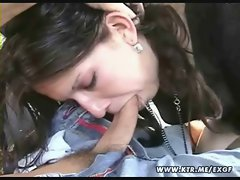 Amateur GF blowjob and fuck in a car