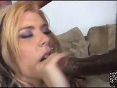 White wife takes two big black cocks in front of husband
