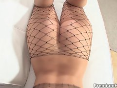 Fishnets whore gets pussy punished