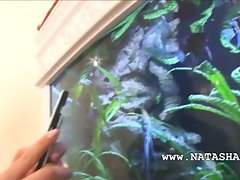 Natashas vagina rubbing on big aquarium
