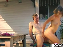 Hot blonde girl  rides cock in backyard