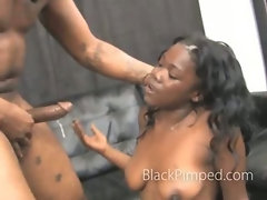 Black on black mean deepthroat and choking on big cock rammed in girls mouth