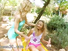 Blonde princesses toying in a forest