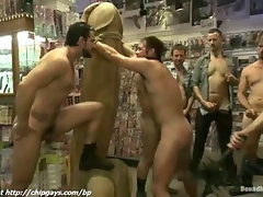 Sweet boy loves bondage spanking in public
