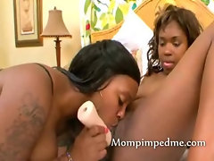Wicked hot black lesbians hot fucking with tongue on pussy and toy inside her