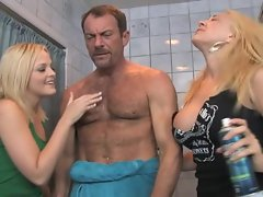 Old rich Euro man can afford to pay Alexis Texas & Kagney Karter for orgy