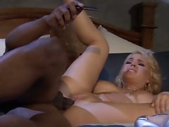 Dirty girl lets a black guy with huge meat tear into her hole
