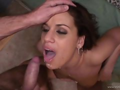 Mia Bangg gets her face drenched with warm cock juice