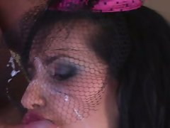 Naughty Melissa Ria having her sexy body covered with some man milk
