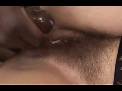 Hairy muffed amateur gets a pussy coating