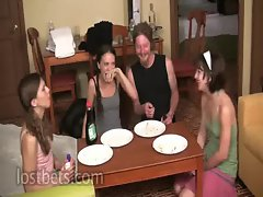 Lily, Elise, Amber and Sean Pie Eating Contest part I