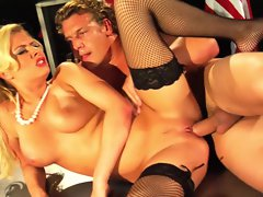 A blast from the past a 50's star Riley Evans gets her tight pussy pounded