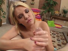 Riley Ray gives an awesome hand job and finishes off with a facial