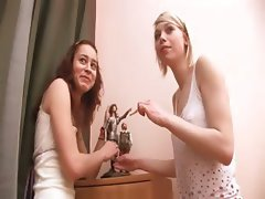 Two russian girls playing with pussies