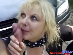 Mature Hooker Fucked Outdoors by Two Horny Guys