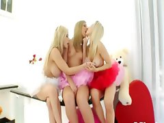 Three incredible blondes eat prolapse