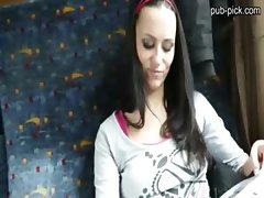 Perfect tits and ass euro chick gets fucked  inside the train for some cash
