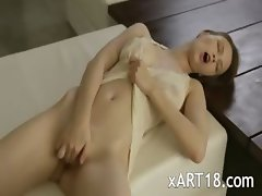 elegant busty Beatrice cumming with you