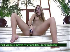 Leslie teenage stunning blonde babe on the stairs
