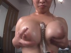 Oily massage with mega tits