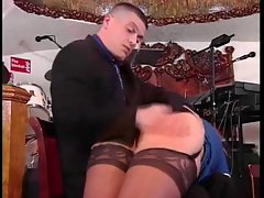 Vixen in stockings gets butt spanked