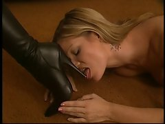 Lez gets nude and strokes high heeled boots