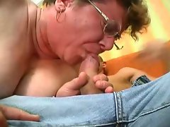 Old fat woman sucking cock