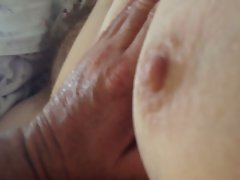 playing with hairy pussy and tit as she jerks me,