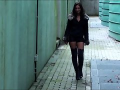 Julie skyhigh&,#039,s sexy thigh high boots &, leather mini short