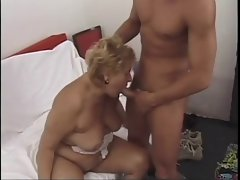 Horny Mature Mom Gets Young Man To Fill Her Holes Up