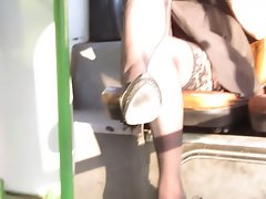 Flashing stockings in bus