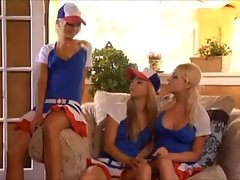 Three blonde babes licking each others pussies
