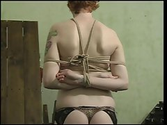Sexy slave with a nice rack, bound &, gagged, with her pussy being teased
