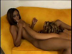 Two black girlfriends have freaky sex on couch