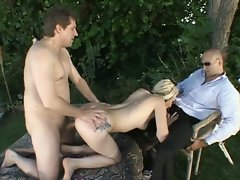 Hot wife fucked by stranger and gives husband nice blowjob