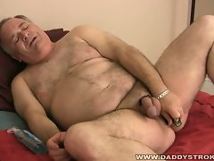 Hot mature cock masturbates big head in this solo video