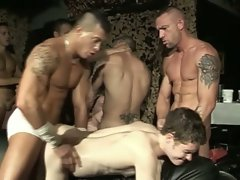 Horny twink gangbanged hard by many gay dudes