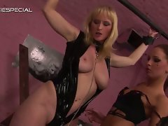 Submissive blonde slave loves it when her mistress gets rough with her